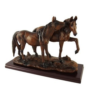 Wood Finish Wild Horses Statue - 7 X 10 X 3.75 inches