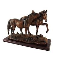 Wood Finish Wild Horses Statue - Brown