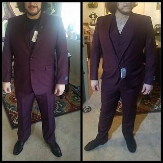 Statement Men's Burgundy Wool 3-piece Suit