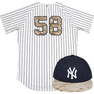 Larry Rothschild Uniform NY Yankees 2015 Game Used 58 Jersey and Hat w Memorial Day Camo