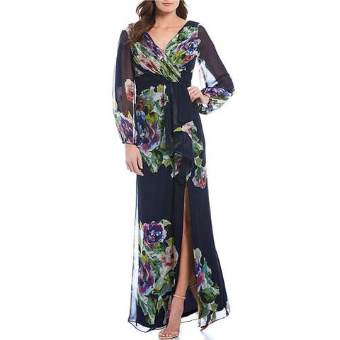 Adrianna Papell Floral Print Chiffon Faux Wrap Gown, Navy Multi, 20W