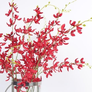 """FloralGoods Luxury Silk Asian Style Oncidium Orchid Stem in Red 43"""" Tall"""