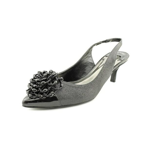 J. Renee Estee Women Pointed Toe Canvas Black Slingback Heel