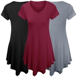 Women Short Sleeve Comfy Loose Fit Long Tunic Top
