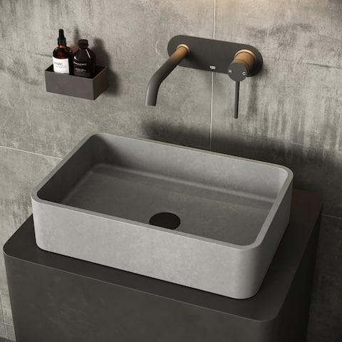 VIGO Concreto Stone 20 in. Concrete Rectangular Vessel Bathroom Sink in Gray