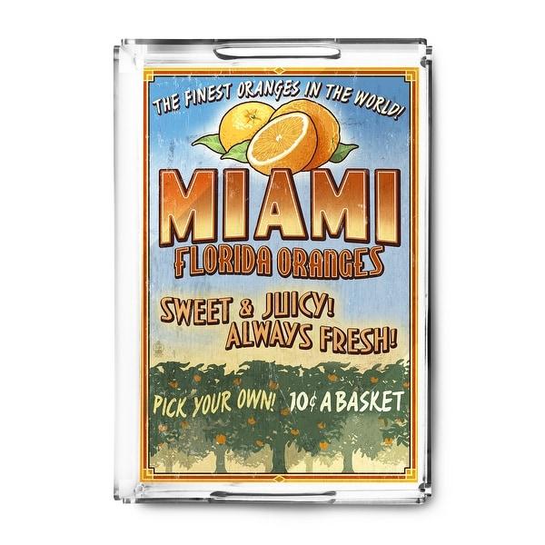 Miami, Florida - Orange Grove Vintage Sign - Lantern Press Artwork (Acrylic Serving Tray)