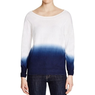 Three Dots Womens Oralia Pullover Sweater Dip-Dye Long Sleeves
