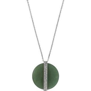 Swarovski ® Disk 5155510 Large Aventurine Stone Crystal Pave Pendant Necklace - Green