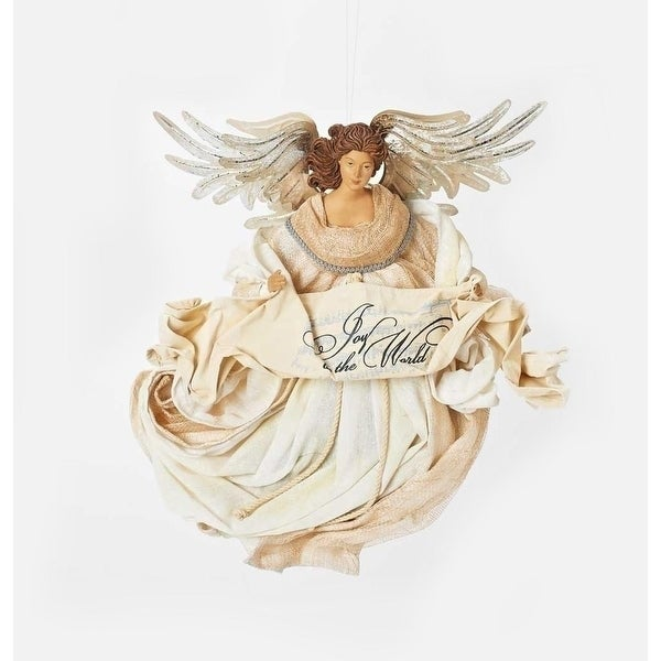 "15"" Joy to the World Large Elegant Flying Angel with Silver Wings and Banner Christmas Ornament - WHITE"