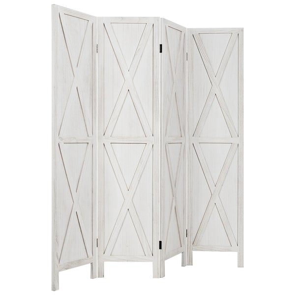 Gymax 5.6Ft Folding 4-Panel Wood Room Divider Privacy Screen Home - See Details. Opens flyout.