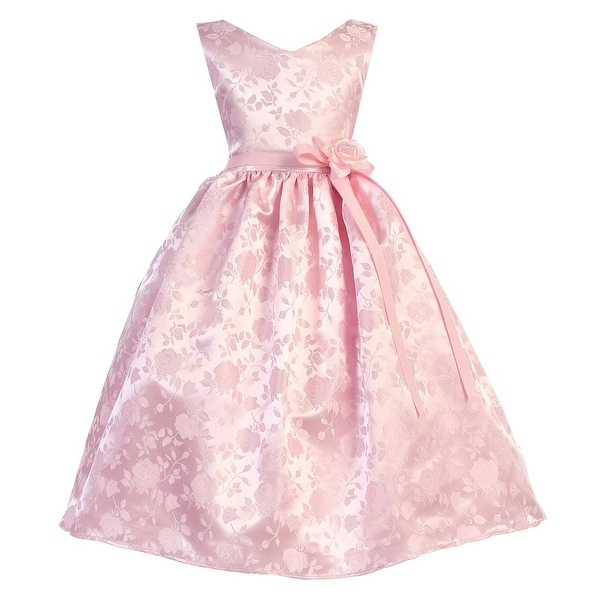 eff7b572b43 Shop Little Girls Pink Floral Bow Rose Pattern Jacquard Flower Girl ...