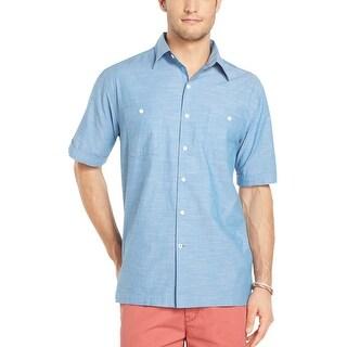 Izod Chambray Short Sleeve Shirt Deep Water Blue Small