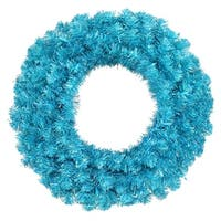 "24"" Pre-Lit Sparkling Sky Blue Artificial Christmas Wreath - Teal Lights"