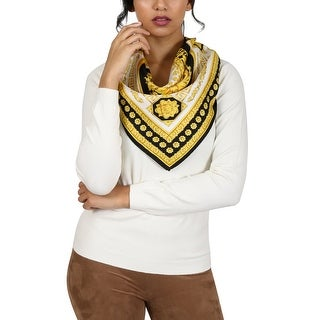 Versace Black/Gold Boxed Print Silk Foulard Scarf