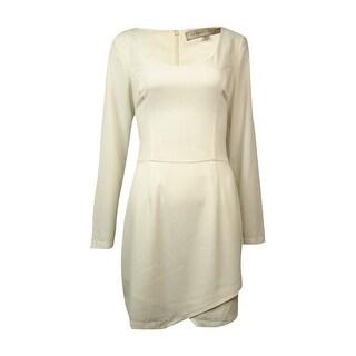 Guess Elements Women's Long Sleeve Wrap Skirt Dress - White - 8