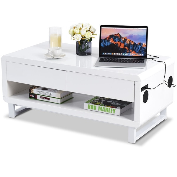 Costway Modern Coffee Table Bluetooth Speakers Drawer Status USB Charging Port