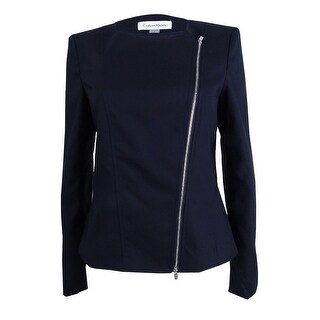 Calvin Klein Women's Plus Size Asymmetrical-Zip Blazer - Dark Navy