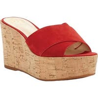 Vince Camuto Women's Kessina Wedge Sandal Cherry Red True Suede