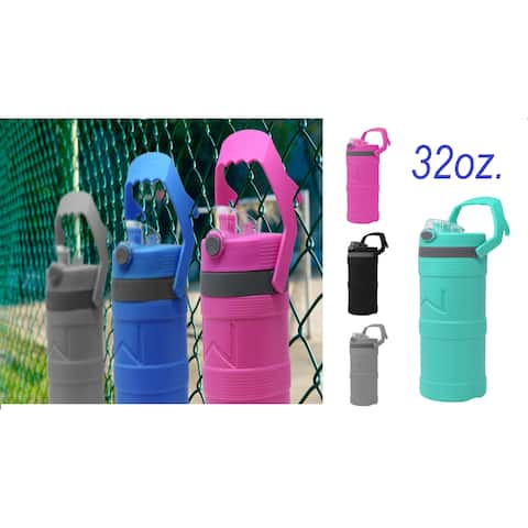 Insulated Double Wall Water Bottles w/ handle Thermos Bpa Free one quart 32 oz