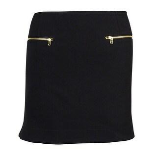 RACHEL Rachel Roy Women's Zipper-pocket Mini Skirt - prismatic black - 12