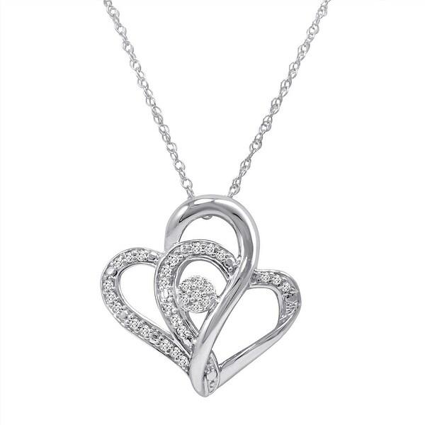 Amanda Rose Sterling Silver Diamond Heart Pendant-Necklace (1/5ct - 20 inch Chain)