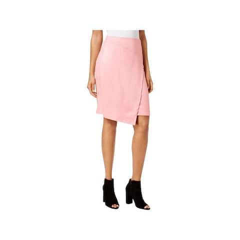 Kensie Womens Wrap Skirt Faux Suede Knee-Length