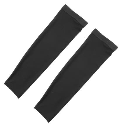 Outdoor Polyester Stretchy Arm Sleeves Cover Protection Decor Black Size XL Pair