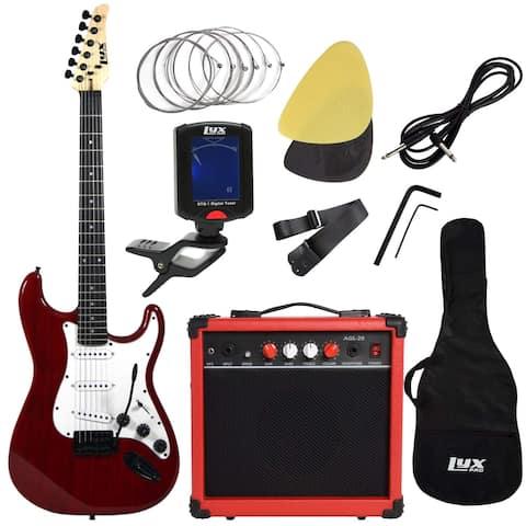 LyxPro Electric Guitar with 20w Amp, Includes- Digital Tuner, Strings, Picks, Tremolo Bar, Shoulder Strap, Case Bag