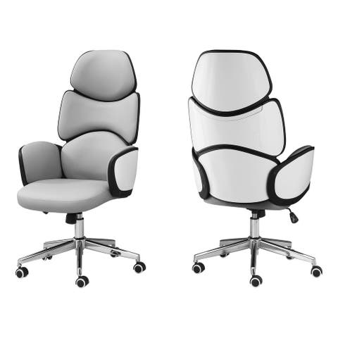 Offex High Back Computer Desk Armrests Swivel Office Chair-White, Grey - Not Available