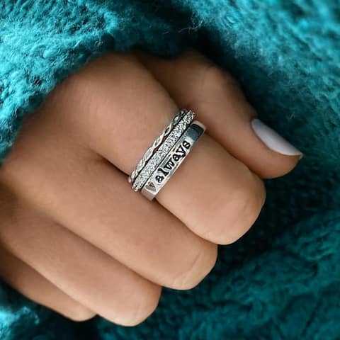 Slate and Tell Always Ring Stack in Sterling Silver and Cubic Zirconia (Size 6/7/8)