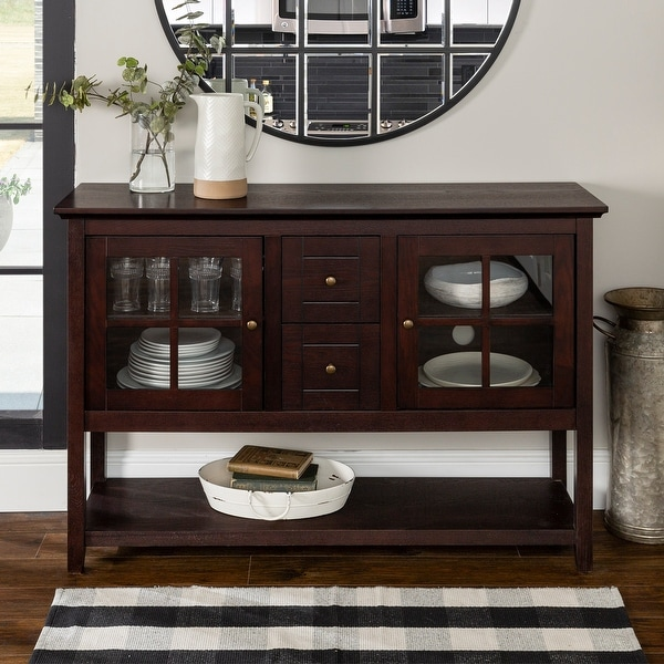 Middlebrook Designs 52-inch Espresso Buffet Cabinet TV Console. Opens flyout.