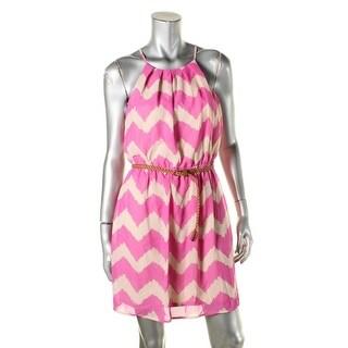 As U Wish Womens Juniors Casual Dress Chevron Open Back - L