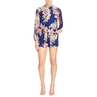 Aqua Womens Romper Chiffon Floral Print