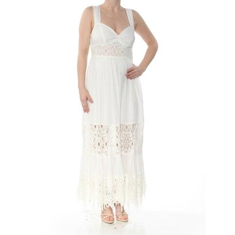 FREE PEOPLE Womens Ivory Cut Out Eyelet Sleeveless V Neck Tea-Length Empire Waist Formal Dress Size: 12