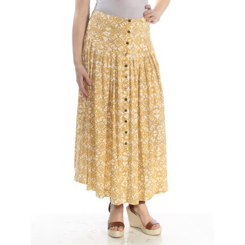 FREE PEOPLE Womens Yellow Printed Button Front Midi Knife Pleated Wear To Work Skirt Size: 8