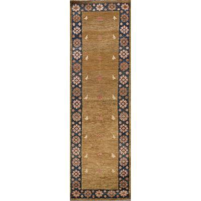 "Geometric Oriental Gabbeh Kashkoli Runner Rug Hand-knotted Wool Carpet - 2'8"" x 9'7"""