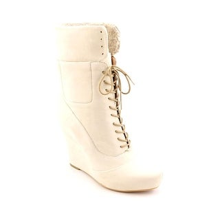 Rachel Roy Randey Women Round Toe Leather Ivory Ankle Boot