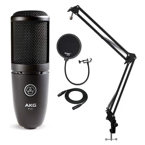 AKG P120 High Performance Recording Microphone with Pop Filter Bundle