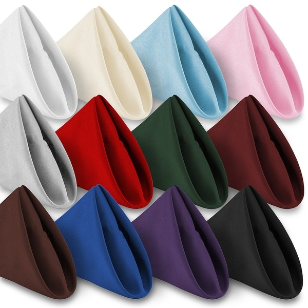 """12-Pack 20"""" Large Polyester Cloth Table Napkins by Lann's Linens. Opens flyout."""