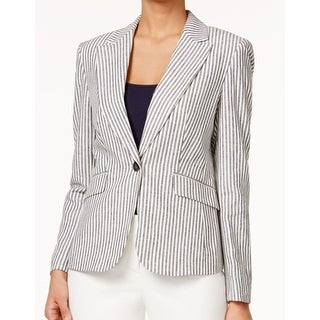 Nine West NEW Blue Women's Size 12 Striped Single Button Blazer