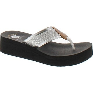 Yellow Box Women's Edeva Metallic Glitter Platform Wedge Flip Flop Sandal