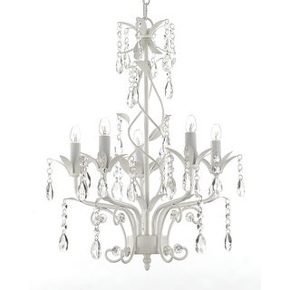 Wrought Iron and Crystal 5 Light White Chandelier - Can be Hardwired or Plugged in !