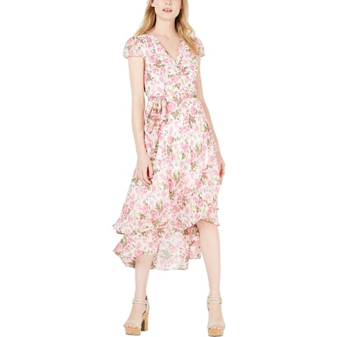 Betsey Johnson Womens Petites Cocktail Dress Floral Wrap - Tickled Pink Floral