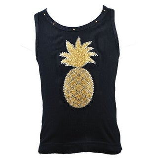 Reflectionz Baby Girls Black Gold Glitter Pineapple Studded Tank Top 12-18M