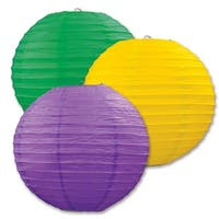 """Club Pack of 18 Round Green, Yellow and Purple Hanging Paper Lanterns 9.5"""" - Green"""