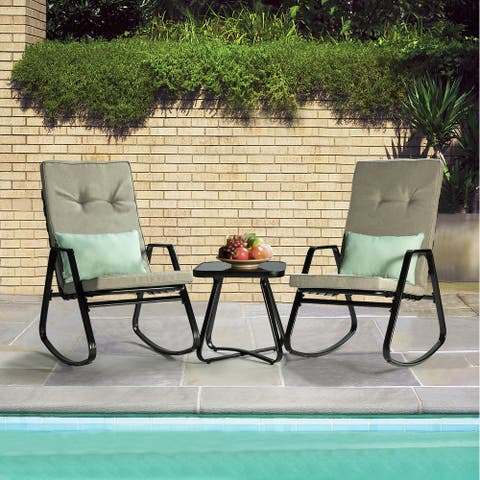 Alonso Outdoor Rocking Chair with Cushion Set of 3