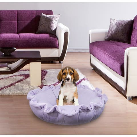 """Bessie and Barnie Ultra Plush Lilac Luxury Deluxe Dog / Pet Cuddle Pod Bed - 30"""""""