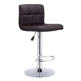 Costway 1 PC Bar Stool Swivel Adjustable PU Leather Barstools Bistro Pub Chair Brown