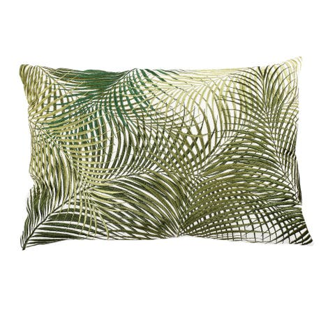 A&B Home Green Rectangular Palmetto Embroidered Throw Pillow