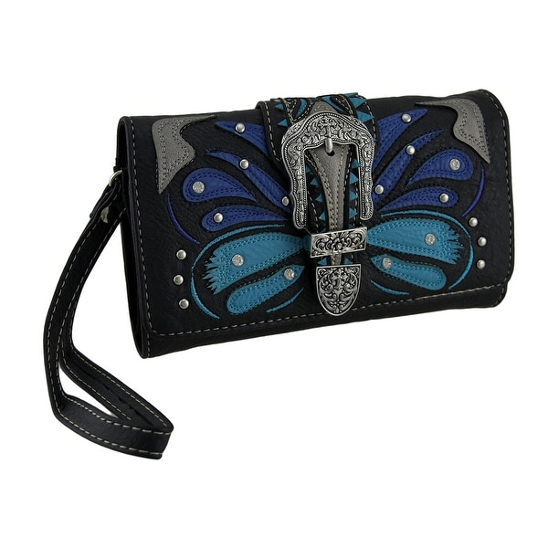 Tribal Butterfly Floral Cross Rhinestone Buckle Wallet with Removable Straps